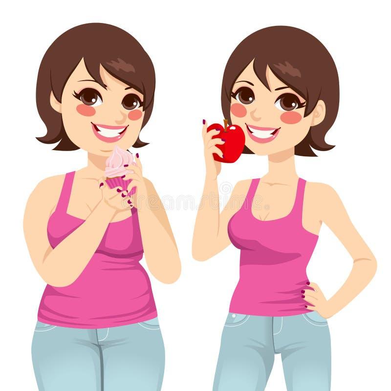 Dieta gorda e magro da mulher ilustração royalty free