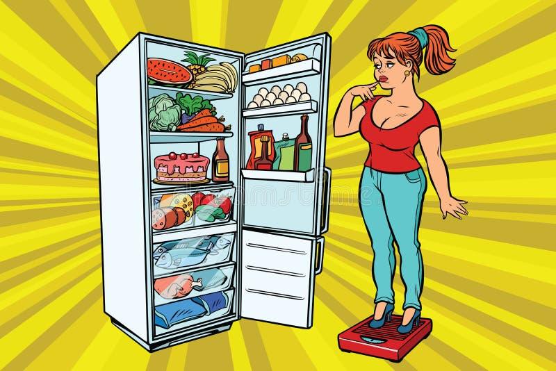 Dieta Jovem mulher em escalas, suporte ao lado do refrigerador com ilustração royalty free
