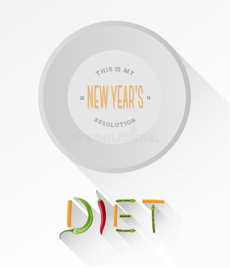 Dieta literująca out z warzywami wektorowymi royalty ilustracja