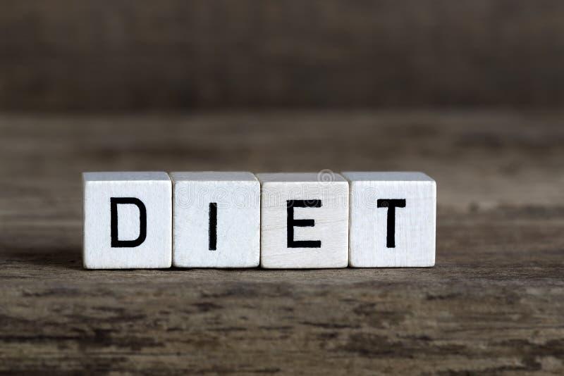 Dieta, pisać w sześcianach fotografia stock
