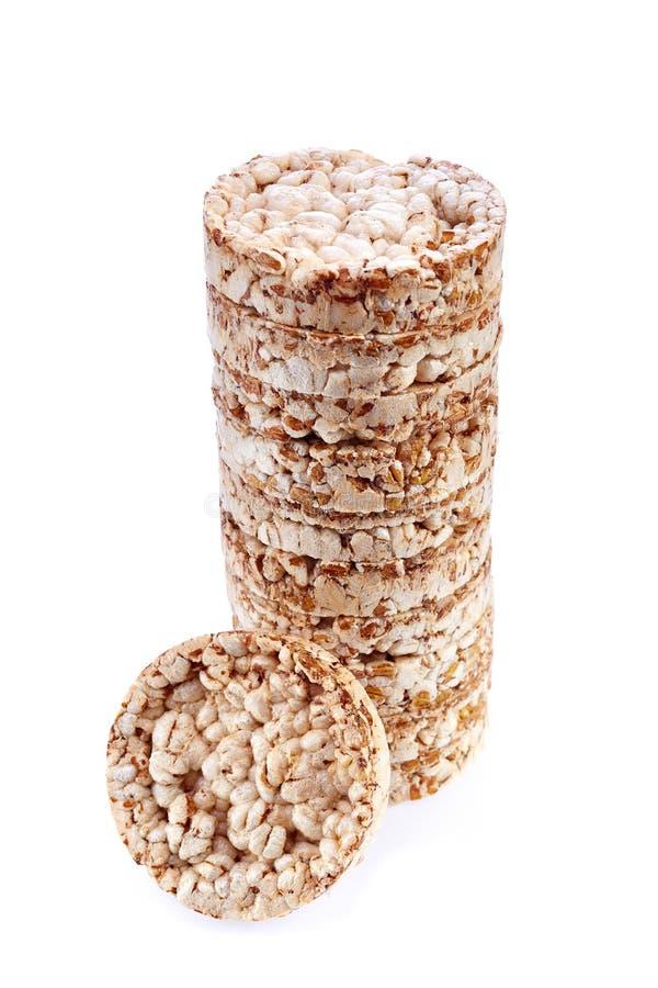 Dieta ryżowych tortów stos odizolowywający na białym tle obrazy stock