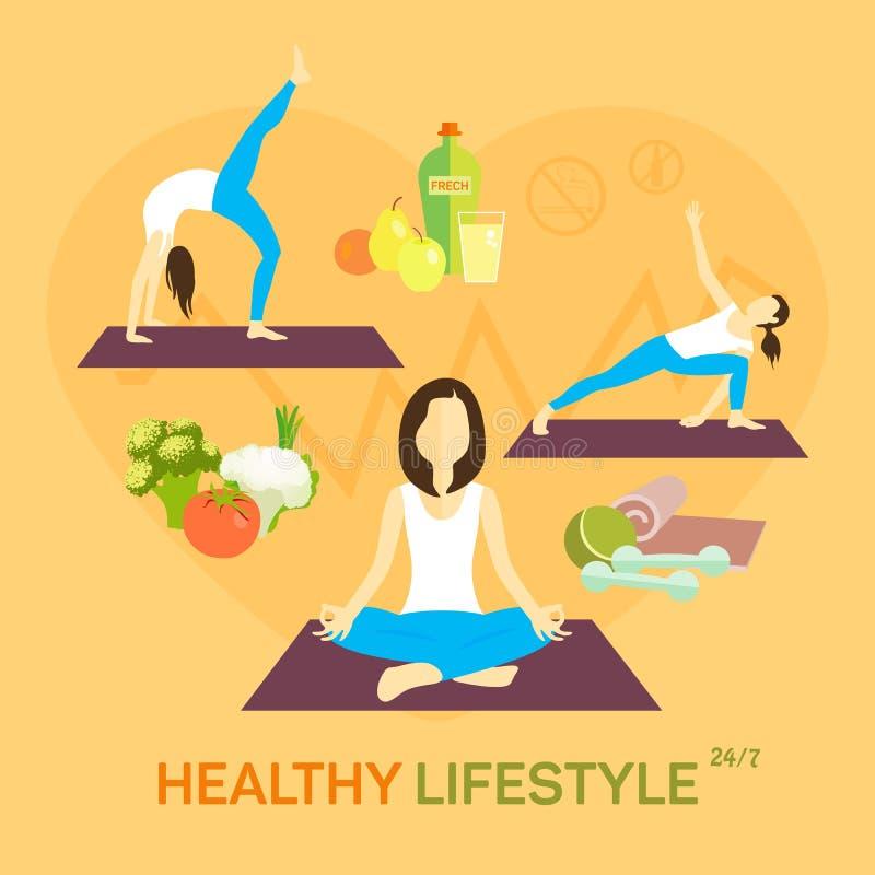 Dieta saudável da vida ilustração royalty free