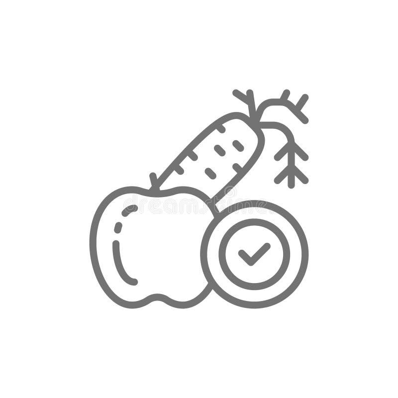 Dieta, vegetais, frutos, linha apropriada ícone da nutrição ilustração royalty free