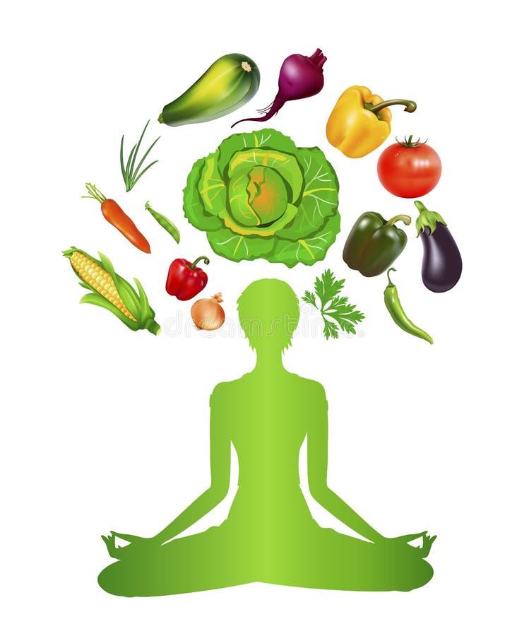Dieta y meditación vegetales stock de ilustración