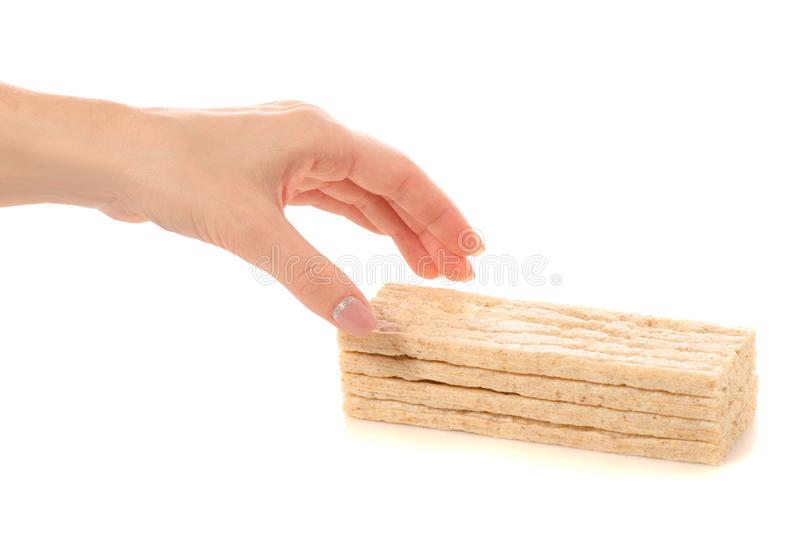 Dietary bread slices in hands. On a white background isolation stock images