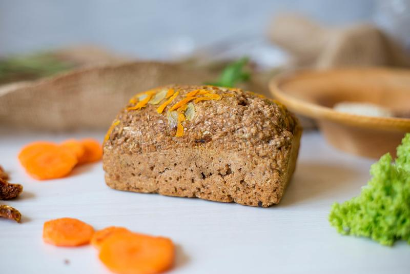 Dietary bread without yeast from whole grain flour. Healthy food, bread with vegetables and bran.  stock photography