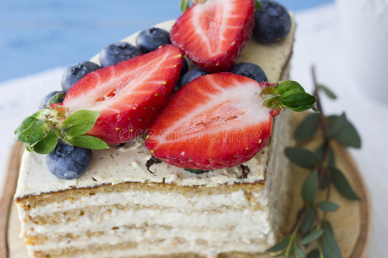 Dietary cake with berries. Piece of cake. Delicious, healthy dessert. T stock photography