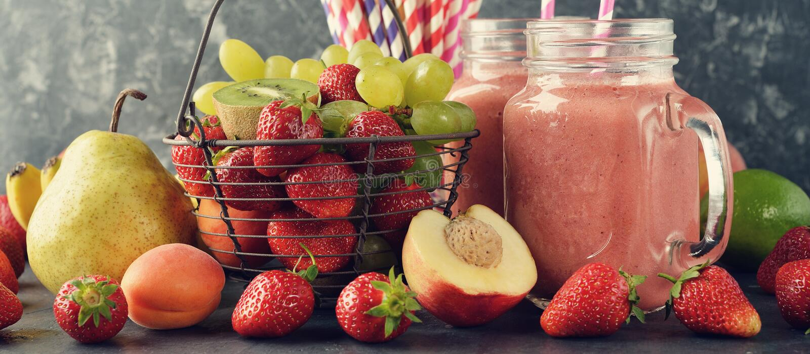 Dietary fruit smoothies. On a gray background stock image