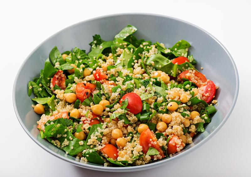 Dietary menu. Healthy vegan salad of fresh vegetables royalty free stock photos