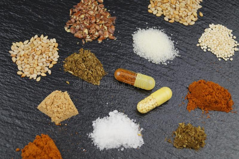 Dietary nutritional supplements stock photography