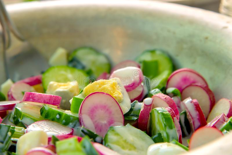 Dietary salad with chicken eggs, radishes, green onions, cucumbers and yogurt, salad with fresh vegetables on a plate, vegetarian. stock image
