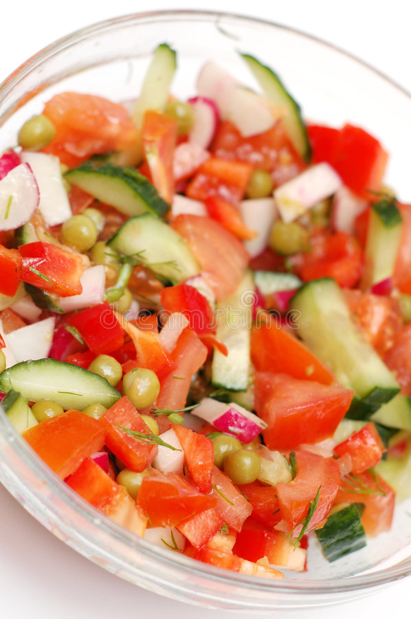 Free Dietary Salad From Tomatoes, Cucumbers And Radish Stock Photo - 4205960