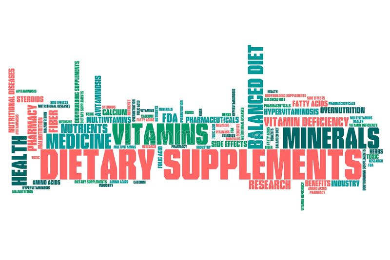 Dietary supplements. Concepts word cloud illustration. Word collage concept vector illustration