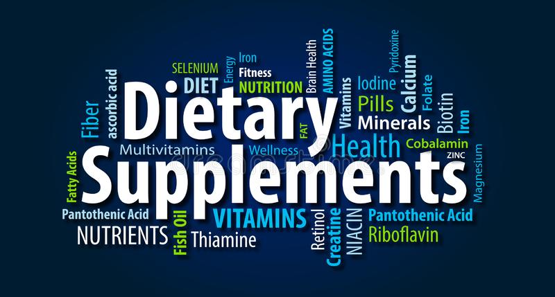 Dietary Supplements Word Cloud. On a blue background royalty free illustration