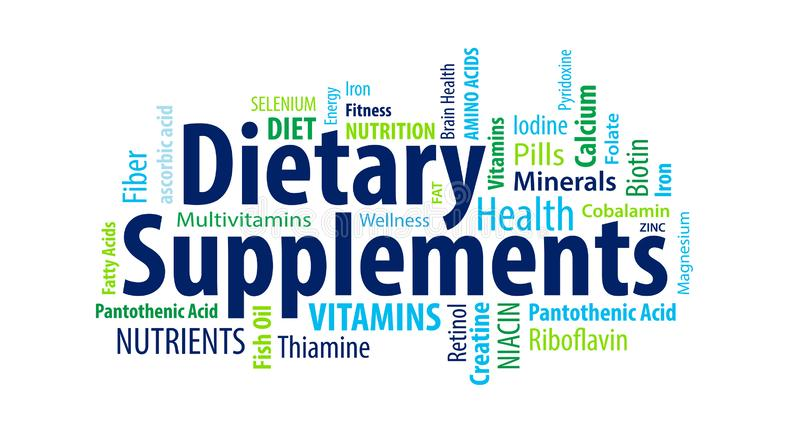 Dietary Supplements Word Cloud. On a white background vector illustration
