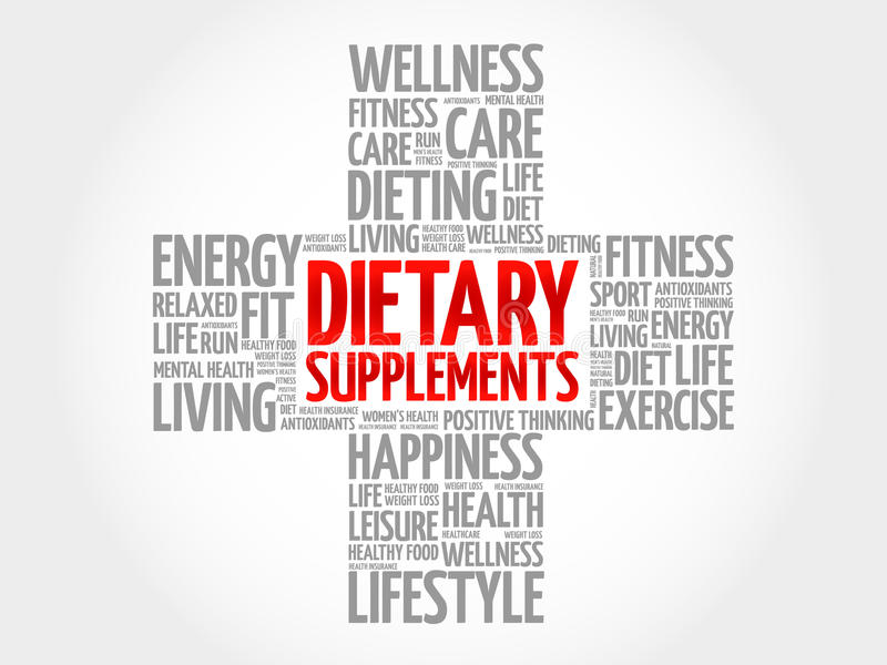 Dietary Supplements word cloud. Health cross concept background royalty free illustration