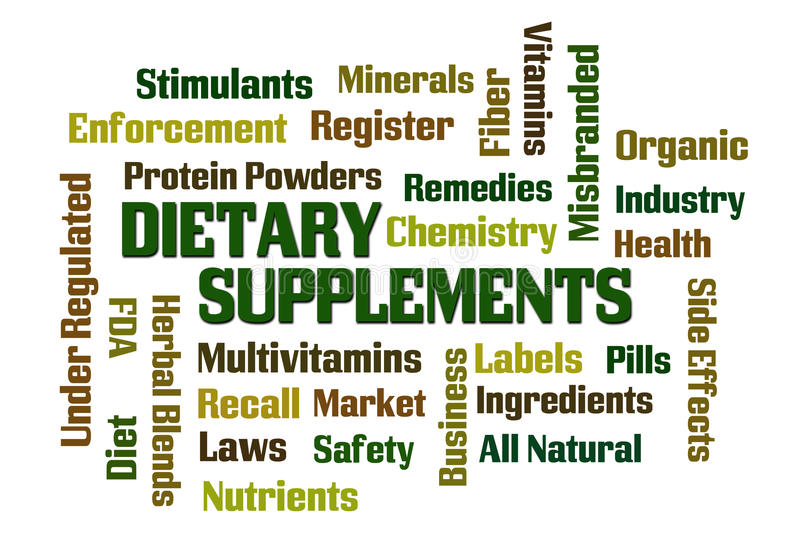 Dietary Supplements. Word cloud on white background vector illustration