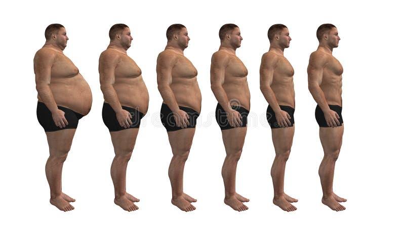 Diete dell'uomo, disegno di forma fisica illustrazione di stock