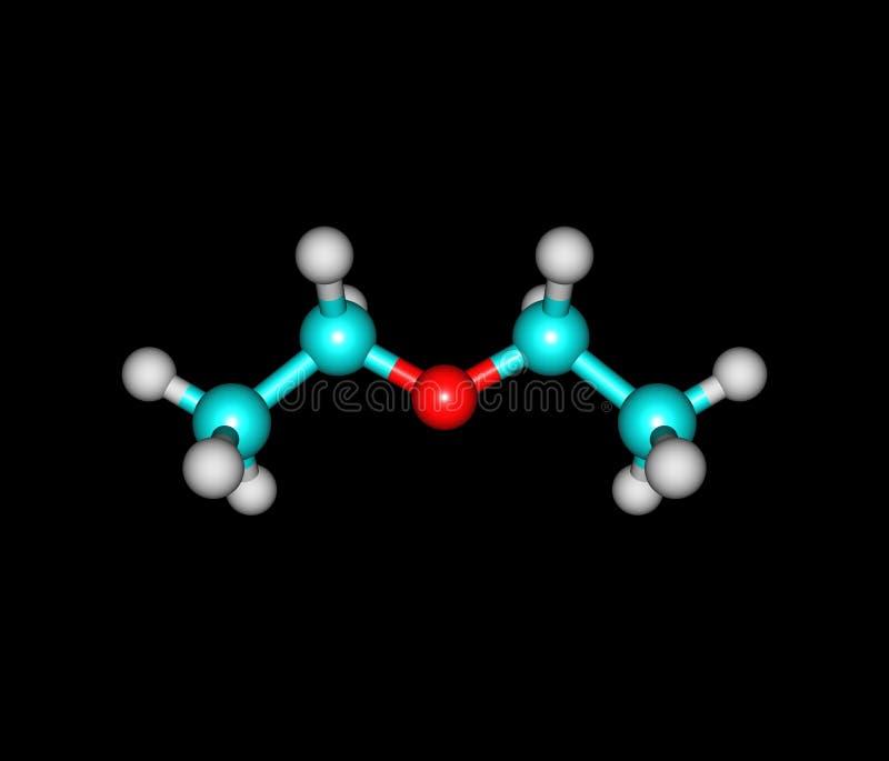 Diethylethermolekül lokalisiert auf Schwarzem stock abbildung