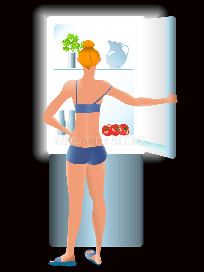 dieting девушка тощая иллюстрация вектора