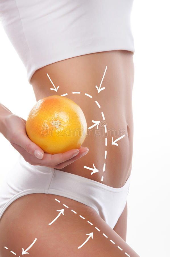Dieting concept, beautiful belly and a fruit isolated on white. Female body with the drawing arrows on it isolated on white. Woman holding orange or grapefruit royalty free stock image