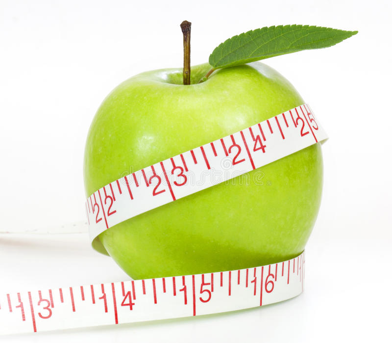 Dieting Concept Green Apple Stock Photography
