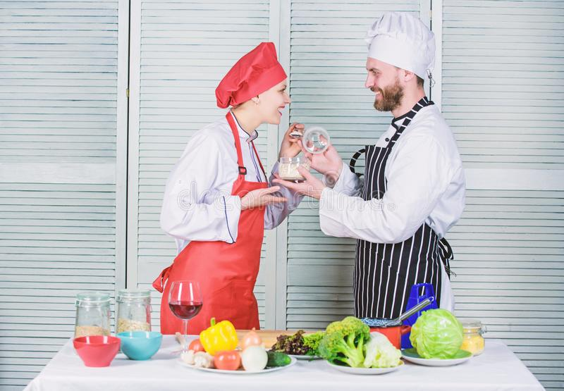 Dieting concept. man and woman chef in restaurant. happy couple in love with healthy food doeting. Dieting and vitamin stock image