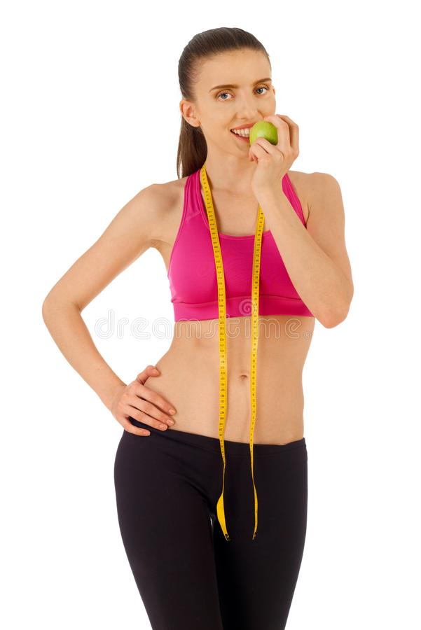 Dieting concept on white royalty free stock photos