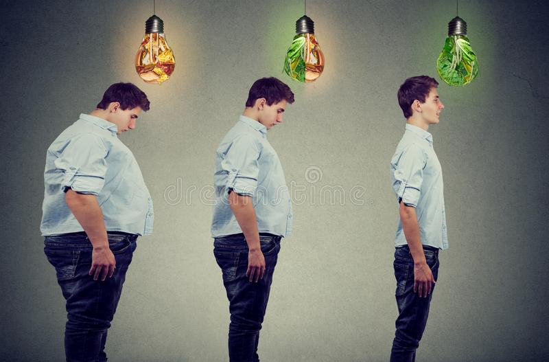 Dieting before and after concept. Young fat man becoming slim guy. Diet choice healthy lifestyle concept. Dieting before and after concept. Young fat man royalty free stock image