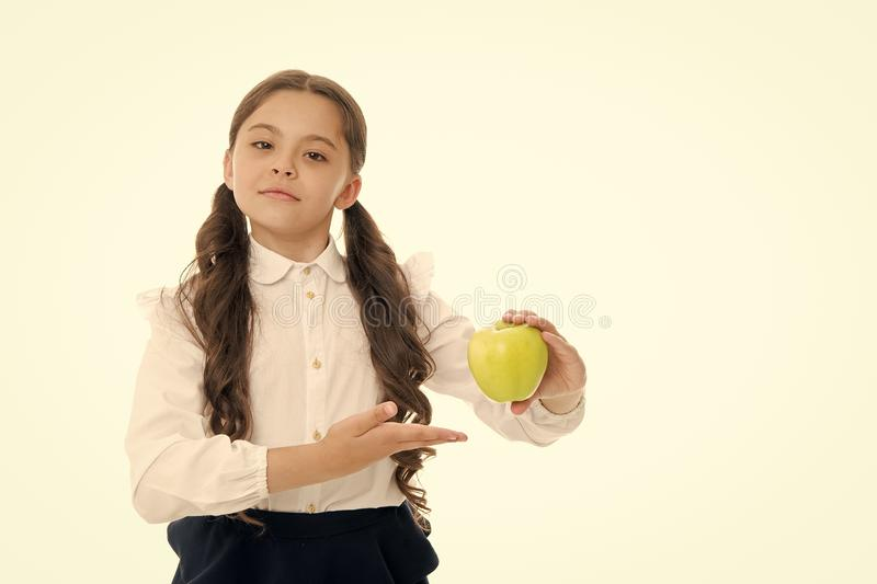 Dieting and healthy food. Back to school. Childhood happiness. small girl child. private teaching. Smart schoolgirl stock photography