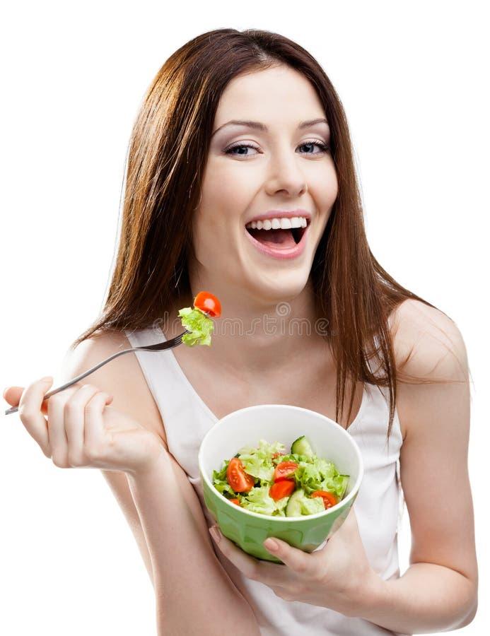 Dieting kobiety łasowania sałatka obraz stock
