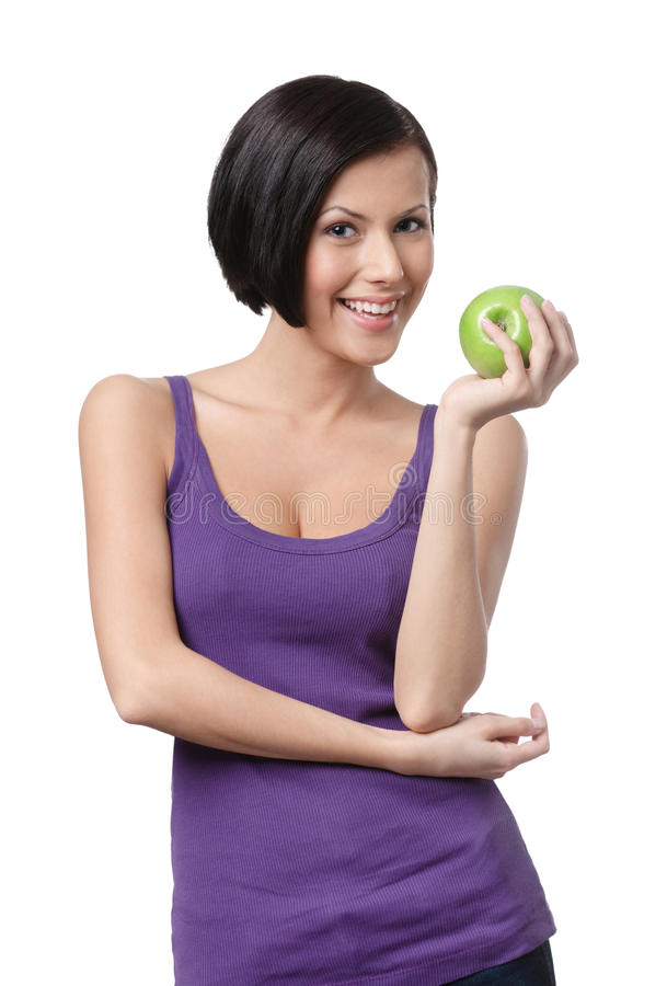 Download Dieting Lady With Green Apple Stock Image - Image: 26101421