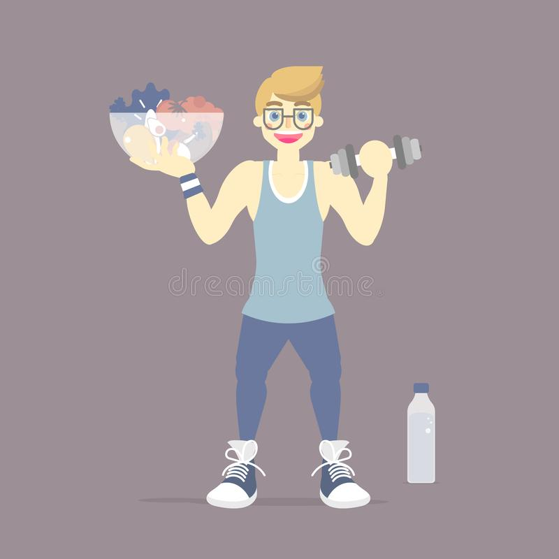 Dieting man, weight loss, activity fitness body building, healthy lifestyle, body in shape, exercise and sport concept. Flat vector illustration cartoon design royalty free illustration