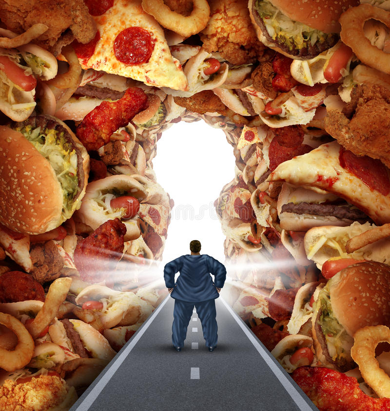 Dieting Solutions. And overweight diet advice concept as an obese man walking on a road to a heap of greasy junk food shaped as a key hole as a metaphor for