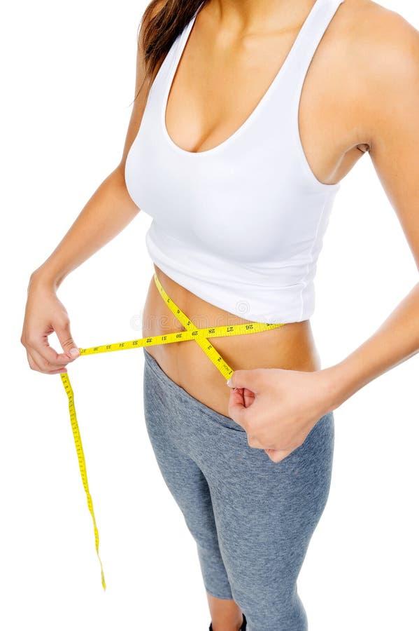 Dieting woman waist stock photos