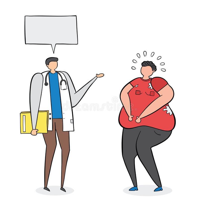 Dietitian som talar med den feta mannen, hand-dragen vektorillustration Svarta översikter och färg stock illustrationer