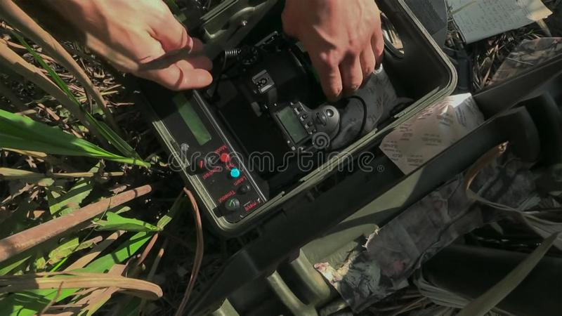 Dietro la scena Macchina da presa su posizione all'aperto per il documentario fotografia stock libera da diritti