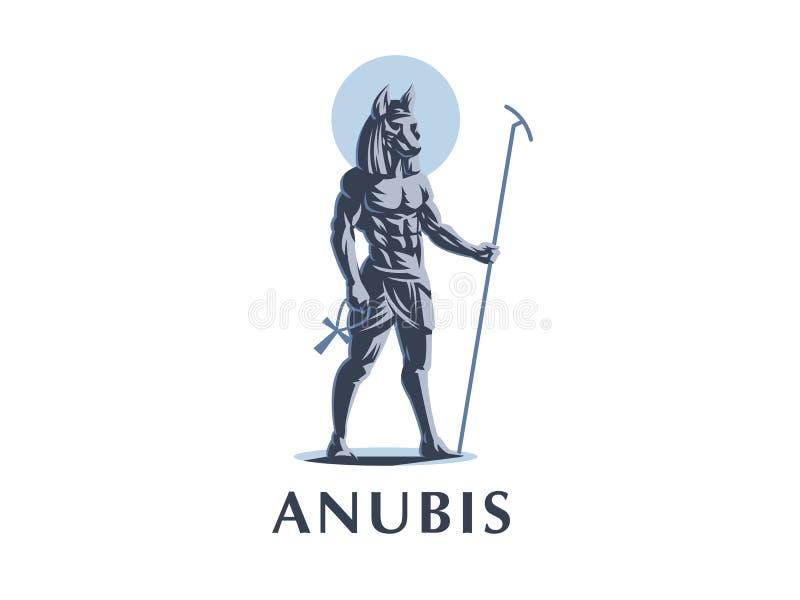 Dieu égyptien Anubis blanc de vecteur d'isolement par ENV de 8 emblèmes illustration de vecteur