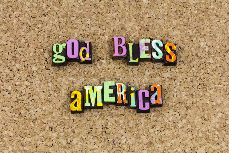 Dieu bénissent la déclaration patriotique de l'Amérique image stock