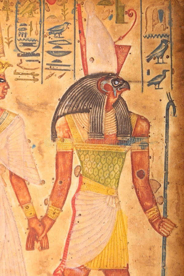Dieu de Houras, vieil art égyptien sur le papyrus photo libre de droits