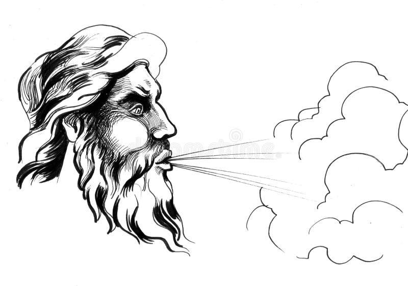 Dieu de vent illustration de vecteur