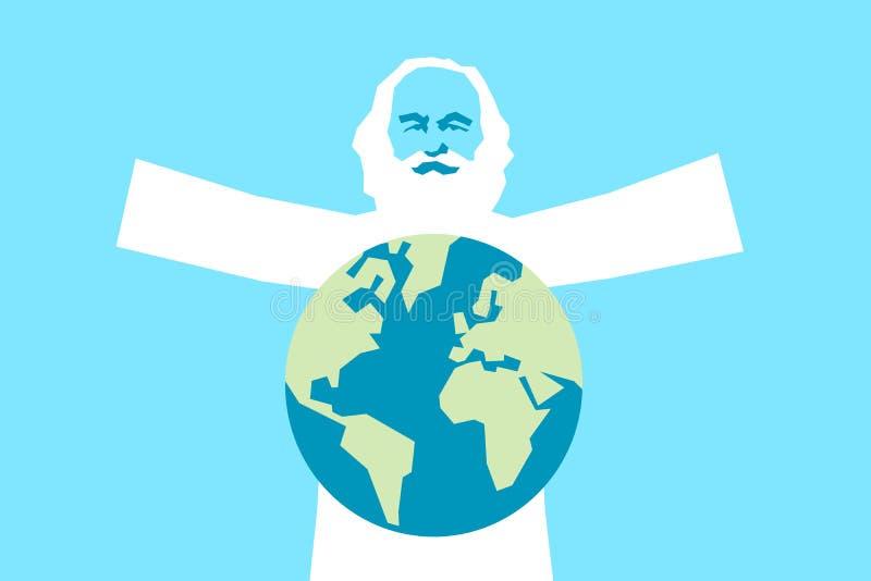 Dieu en tant que vieil homme barbu sur le ciel - le cr?ateur cr?e la terre de plan?te illustration libre de droits