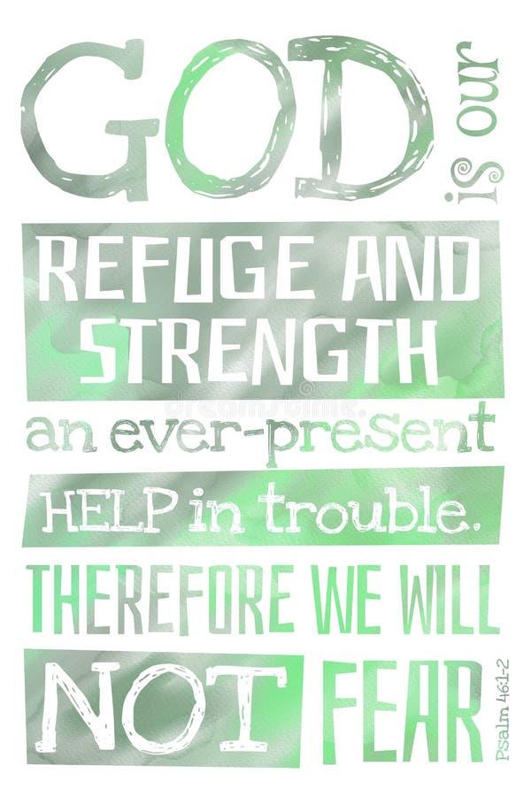 Dieu est notre psaume 46:1-2 de refuge et de force - affiche avec la citation des textes de bible photos libres de droits