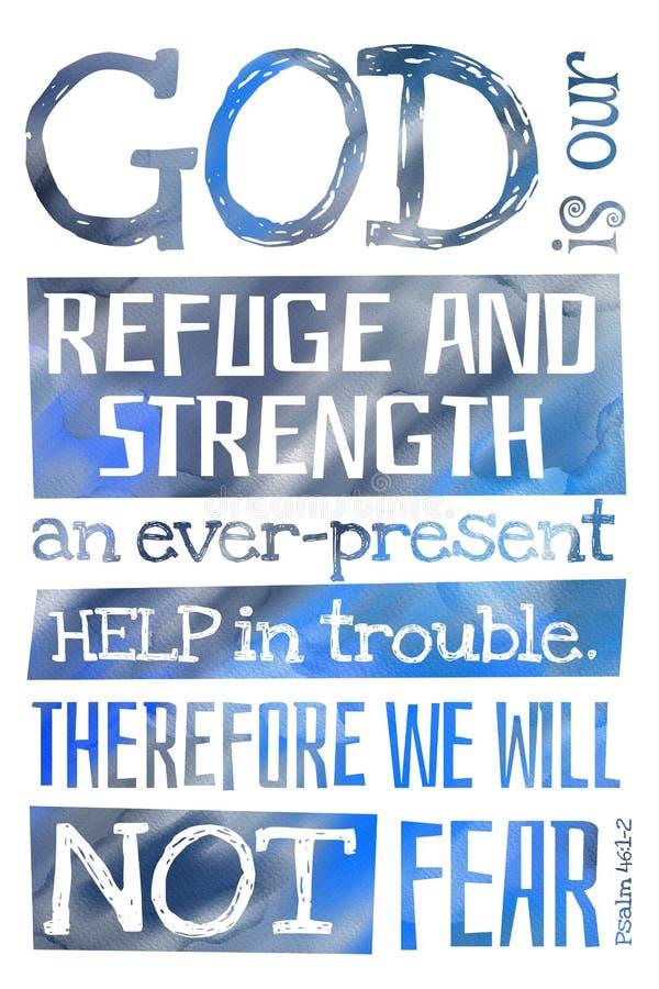 Dieu est notre psaume 46:1-2 de refuge et de force - affiche avec la citation des textes de bible image stock