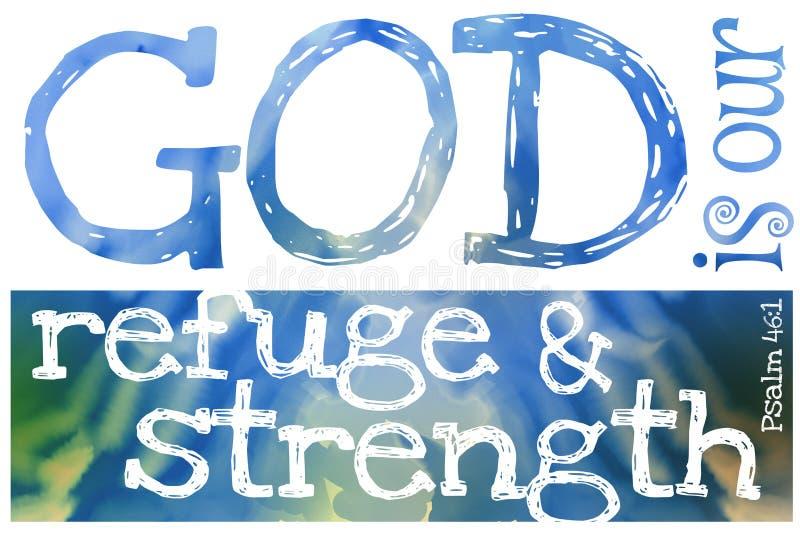 Dieu est notre refuge et 46:1 de psaume de force - affiche avec la citation des textes de bible images stock