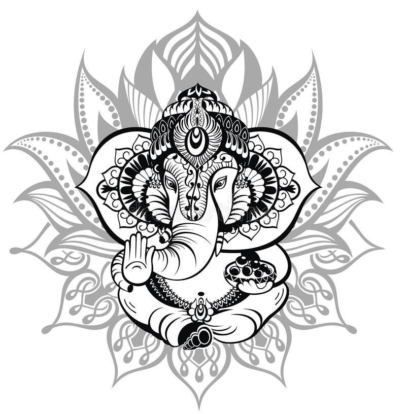 Dieu Ganesha d'ornement illustration de vecteur