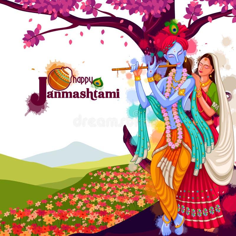 Dieu Krishna jouant la cannelure avec Radha sur le fond heureux de festival de Janmashtami de l'Inde illustration de vecteur