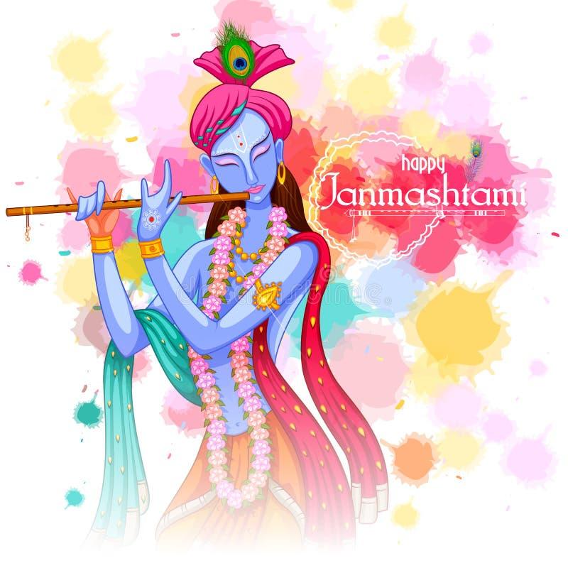 Dieu Krishna jouant la cannelure sur le fond heureux de festival de Janmashtami de l'Inde illustration de vecteur