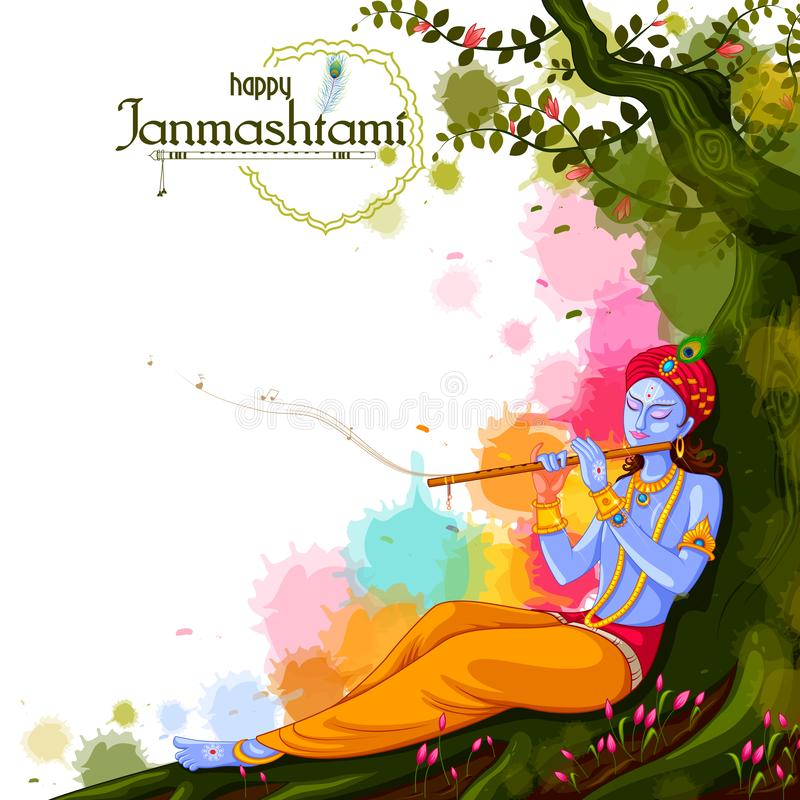 Dieu Krishna jouant la cannelure sur le fond heureux de festival de Janmashtami de l'Inde illustration stock