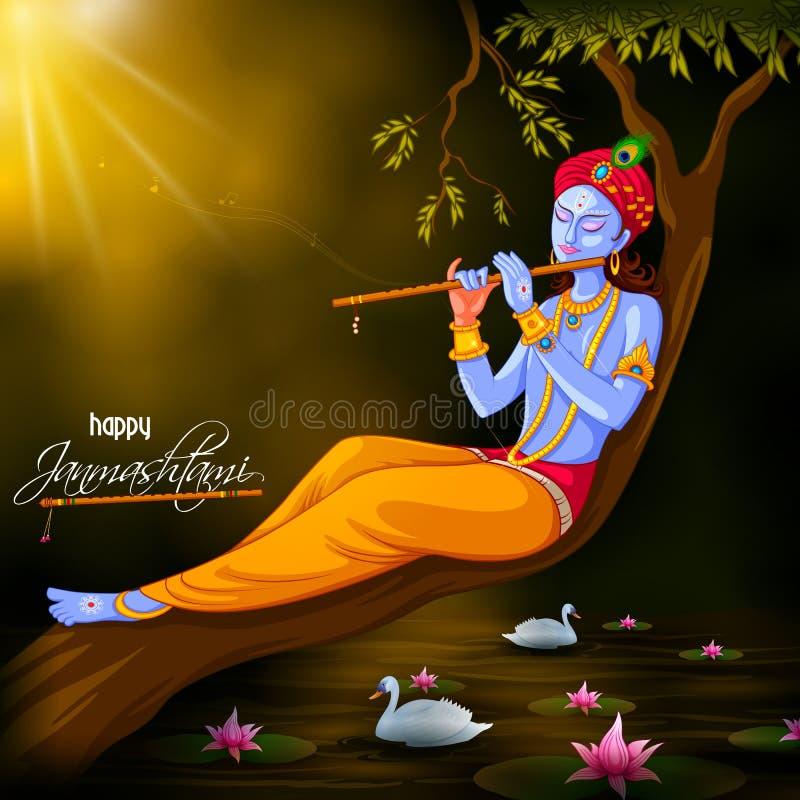 Dieu Krishna jouant la cannelure sur le fond heureux de festival de Janmashtami de l'Inde illustration libre de droits